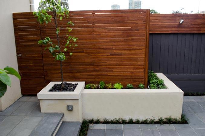 Modern garden design hot girls wallpaper for Rendered garden wall designs